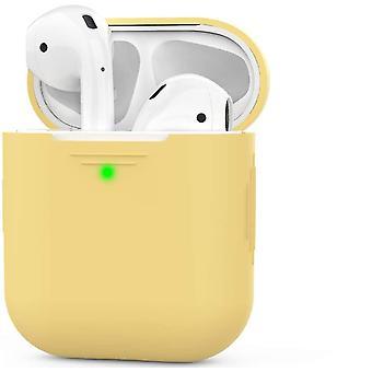 Κίτρινη θήκη σιλικόνης airpods συμβατή με αερόποδα μήλου 2 & 1 dt6582