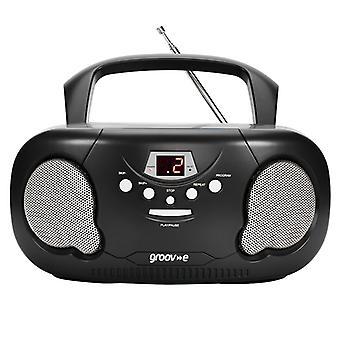 Groov-e GVPS733BK Original Boombox Tragbarer CD-Player mit Radio Black UK Stecker