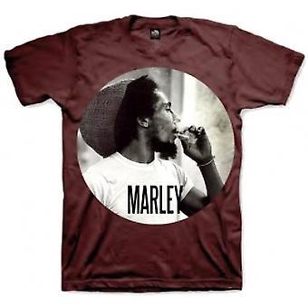 Bob Marley Smokin Circle Mens T-shirt: Bourgogne Large