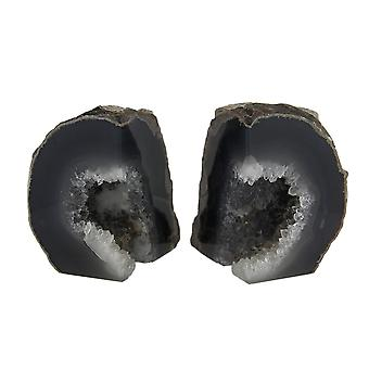 Small Polished Dark Natural Grey Brazilian Agate Geode Bookends <4 Pounds