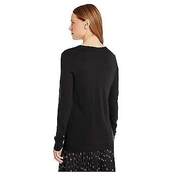 Brand - Lark & Ro Women's Merino Wool Long Sleeve V Neck Cardigan, Black, X-Small