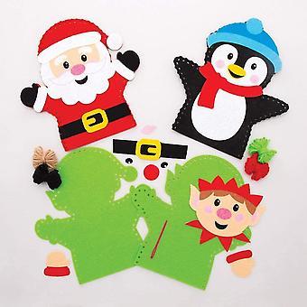 AT185 Handpuppe Nähset Kinder Weihnachten (4 Stück) Festliches Basteln, Sortiert