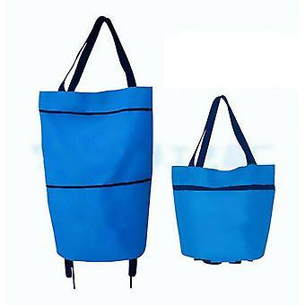 (Modrá) Skládací nákupní taška na kole řiditelný ekologický vozík vozík velké kabelkyFoldable