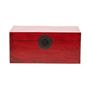 Grzywny Asianliving Antyczny chiński klatka piersiowa błyszczący czerwony W88xD57xH40cm