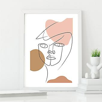 Stunning Face Line Art Print   Perfect Gift or Decor Piece   A4 with White Frame
