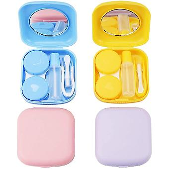 4pcs Contact Lens Case, Colorful Contact Lens Box Holder Container