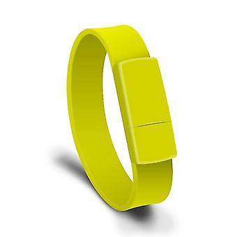 MicroDrive 16GB USB 2.0 צמיד אופנה צמיד U דיסק (צהוב)