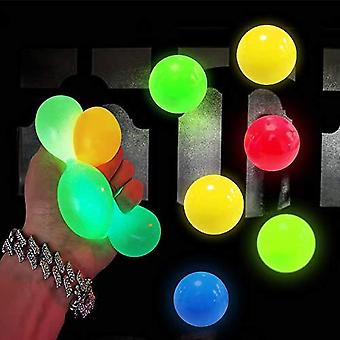 6 Pack Luminescent Stress Relief Toy Fluorescence Sticky Ball - Squishy Glow Stress Sticky Balls, Non-toxic For Kids And Adults, Tear-resistant, Fun T