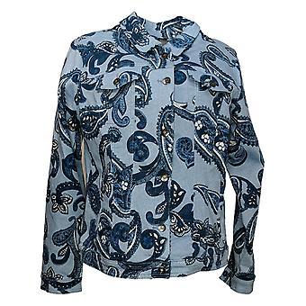 DG2 by Diane Gilman Women's Printed Denim Jacket Blue 646504
