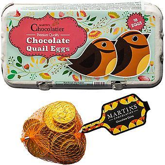 Martin's Chocolatier Easter Gift Set   Mini Chocolate Quail Eggs   Belgian Chocolate Coins  