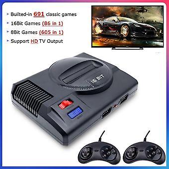 HD Mini Retro 4K Videospielkonsole Gebaut 691 Spiele 16Bit Klassische Sega TV Spielkonsole