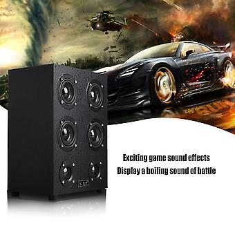 Wooden Computer Speakers Subwoofer 3d Full Four Channel Output 3.5mm Jack