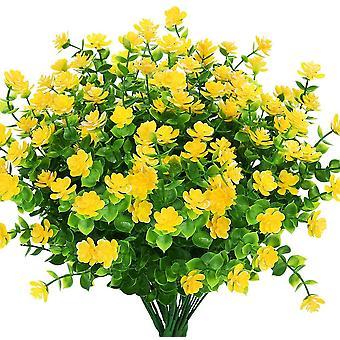 פרחים מלאכותיים מזויפים בחוץ, פלסטיק מזויף צמח חווה דקור 8 יח ' לוטוס אדום