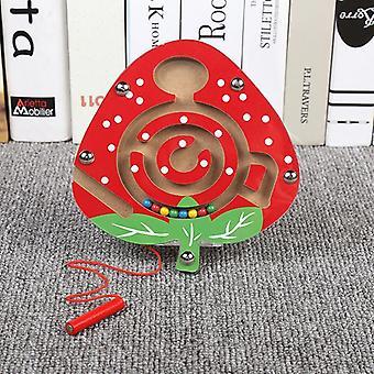 Brinquedos infantis Jogo de quebra-cabeça de labirinto de caneta magnética de madeira para estimular o cérebro-(morango)