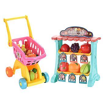 Simulation Supermarket Shopping Cart Vending Table Set Toys Play House
