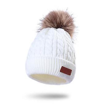 Gyermek téli kültéri meleg fülvédő gyapjú sapka (fehér)