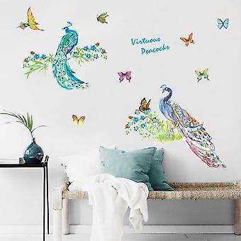 Diy Peacock Birds Naklejka ścienna Kid Room Decor Art Zdejmowana tapeta