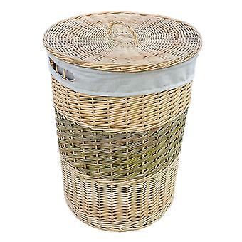 Cesta de lavanderia de vime redondo com tampa em dois tons