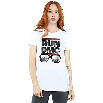 Run DMC Women's Logo Glasses Boyfriend Fit T-Shirt