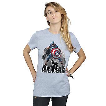Marvel Women's Captain America Action Pose Boyfriend Fit T-Shirt