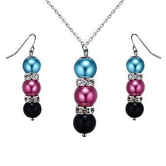 Ställa in halsband och örhängen pärlor Multicolores, kristall och Rhodium plattan