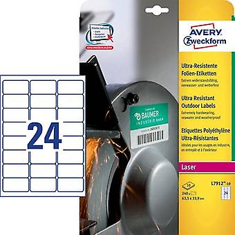 Avery-Zweckform L7912-10 Labels 63.5 x 33.9 mm PE film White 240 pc(s) Permanent All-purpose labels