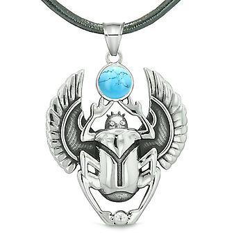 Amulett ägyptische Skarabäus Wiedergeburt spirituellen Leben magische Kräfte simuliert Türkis Anhänger Halskette