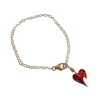 Gemshine Heart Bracelet Gold plated Red MADE WITH SWAROVSKI ELEMENTS®