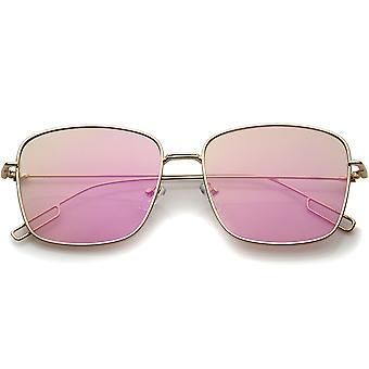 Minimalne drutu Metal ramka kolor lustro z płaskim obiektyw placu okulary 58mm