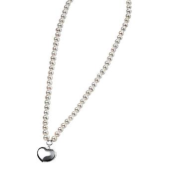 Elements Silver Freshwater Pearl Puff Heart Necklace - Silver/White