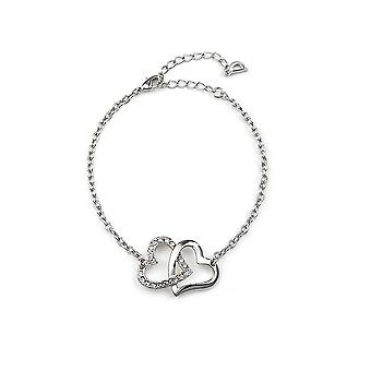 Intertwined Hearts bracelet adorned with Swarovski White Crystal 1459