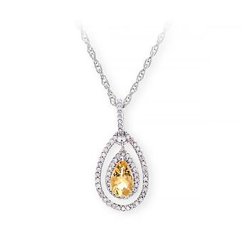 Star Wedding Rings Sterling Silver Necklace With Citine Gem Stone Pendant And Diamonds
