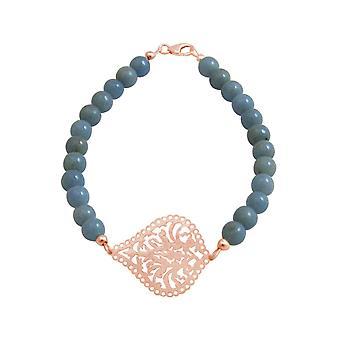 Pulseira GEMSHINE: Yoga mandala azul Aquamarine gemstones. Prateado, dourado, rosa