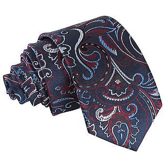 Marine & Burgund Cypress Paisley Slim Krawatte