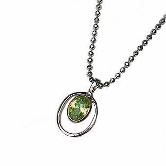 Cavendish Ranskan hopea ja Peridot vihreä CZ Rennie Mackintosh tyyli riipus ilman ketjua