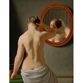 Nude (Morning Toilette),Christoffer Wilhelm Eckersberg,32x25cm