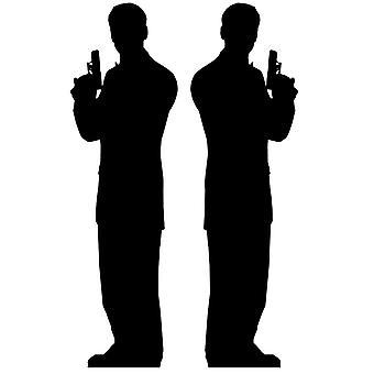 Hemlig Agent manliga Double Pack (James Bond Style) - Lifesize kartong släppandet / stående