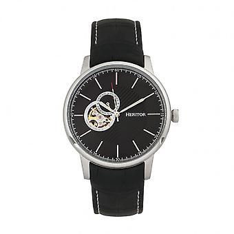 Relógio do couro-banda semi esqueleto do Landon automática heritor - prata/preto