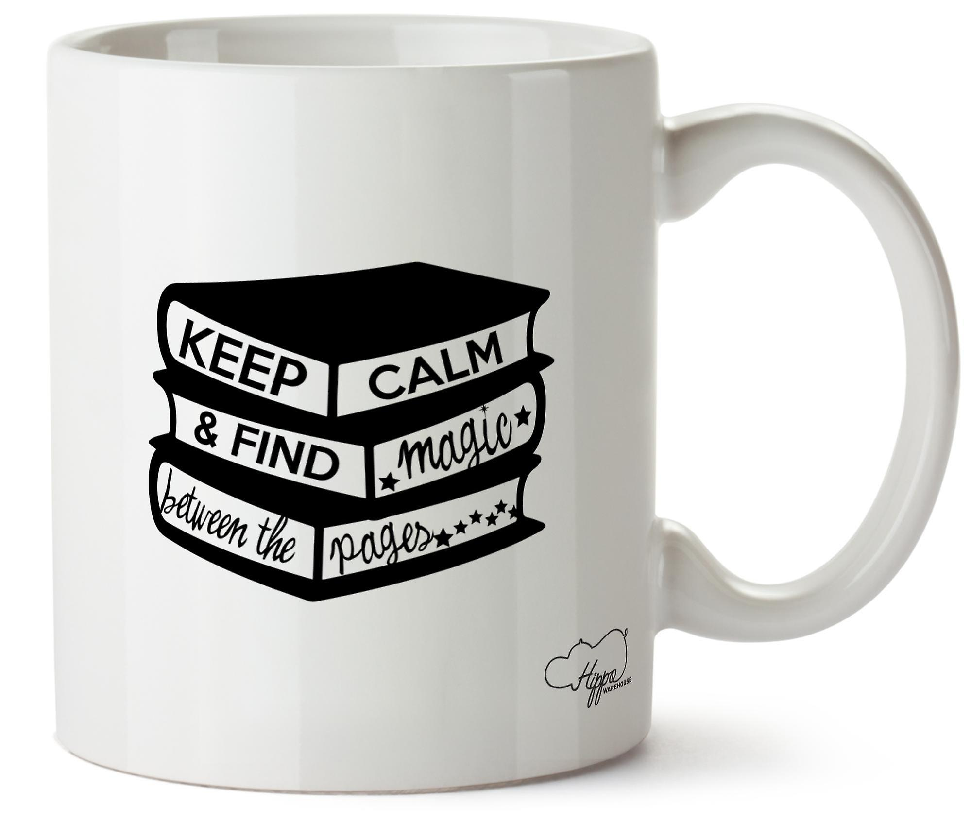 Hippowarehouse Keep Calm And Find Magic Between The Pages Printed Mug Cup Ceramic 10oz