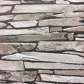 Brick Stone Tile Slate Wallpaper Grey Natural Realistic Faux Photo Debona