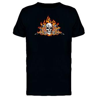 Flaming Skull With Dried Roses Tee Men's -Image by Shutterstock