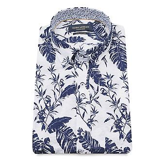 Guia de Londres branca pluma da Marinha impressão puro algodão curta manga camisa dos homens
