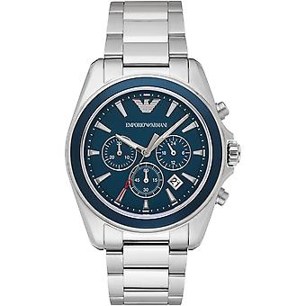 Emporio Armani quarzo faccia blu d'argento Mens Gents Wrist Watch AR6091