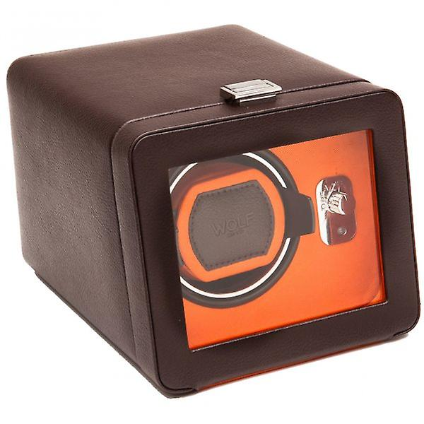 Wolf Designs Windsor Orange & Brown Leather Single Watch Winder 2.5 With Cover
