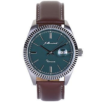 J. Brackett Verona Leather-Band Watch w/Date - Teal