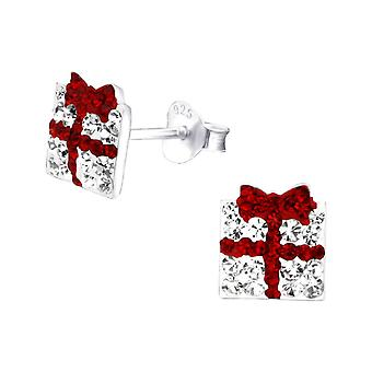 Christmas Present Crystal and Sterling Silver Stud Earrings