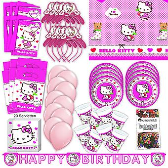 Hello Kitty party set XL 75-teilig for 6 guests Kittyparty birthday decoration party package
