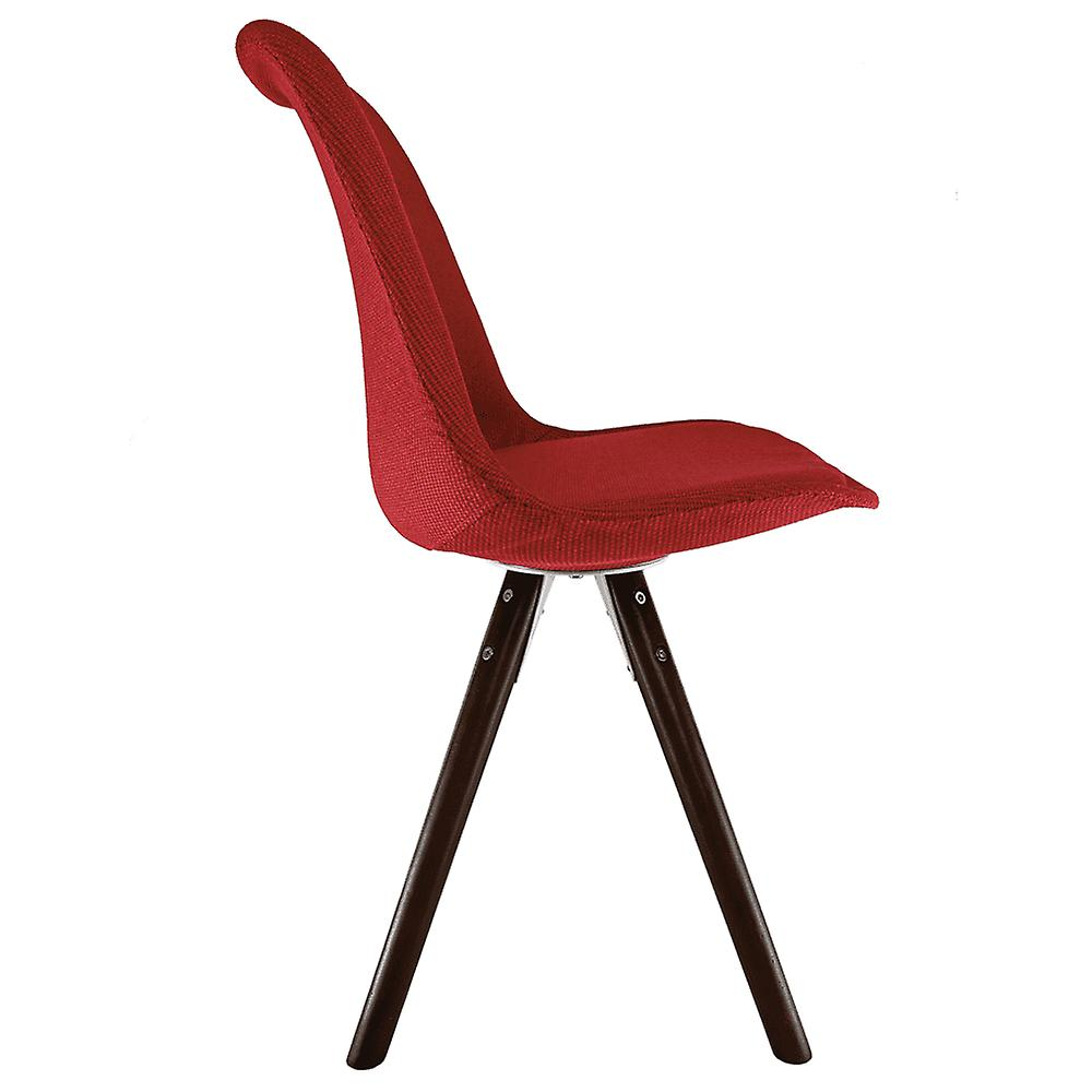 Fusion Living Eiffel Inspired Red Fabric Dining Chair With Pyramid Dark Wood Legs