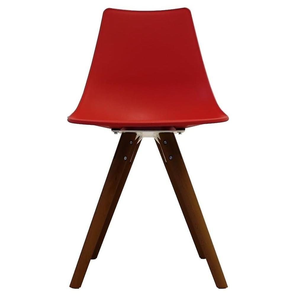 Fusion Living Iconic Red Plastic Dining Chair With Dark Wood Legs