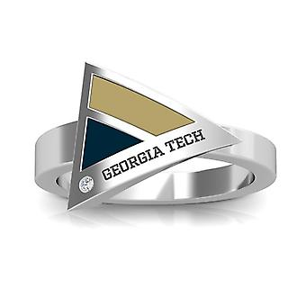 Georgia Institute Of Technology Engraved Sterling Silver Diamond Geometric Ring In Tan and Blue